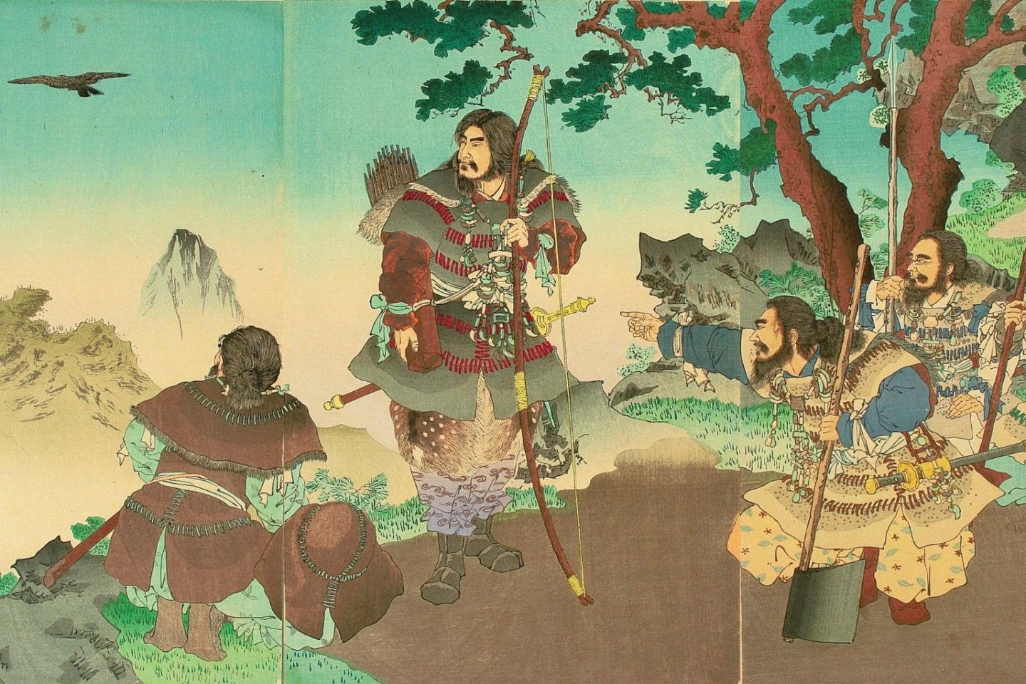 Emperor Jimmu and his company following the Yatagarasu
