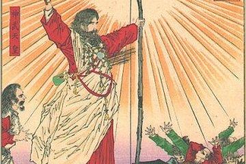 Another image of Emperor Jimmu with the Yatagarasu