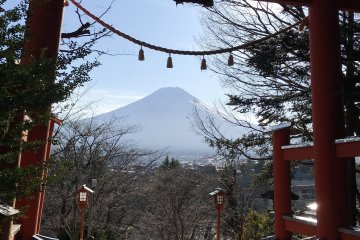 Red torii of Arakura Fuji Sengen Shrine