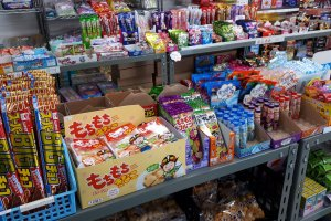 Shelves of cheap sweets for the kids and nostalgic adults