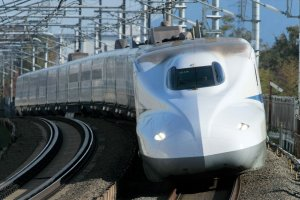 The bullet train's nose is hand polished for maximum speed and a smooth ride through the many tunnels between Tokyo and Osaka
