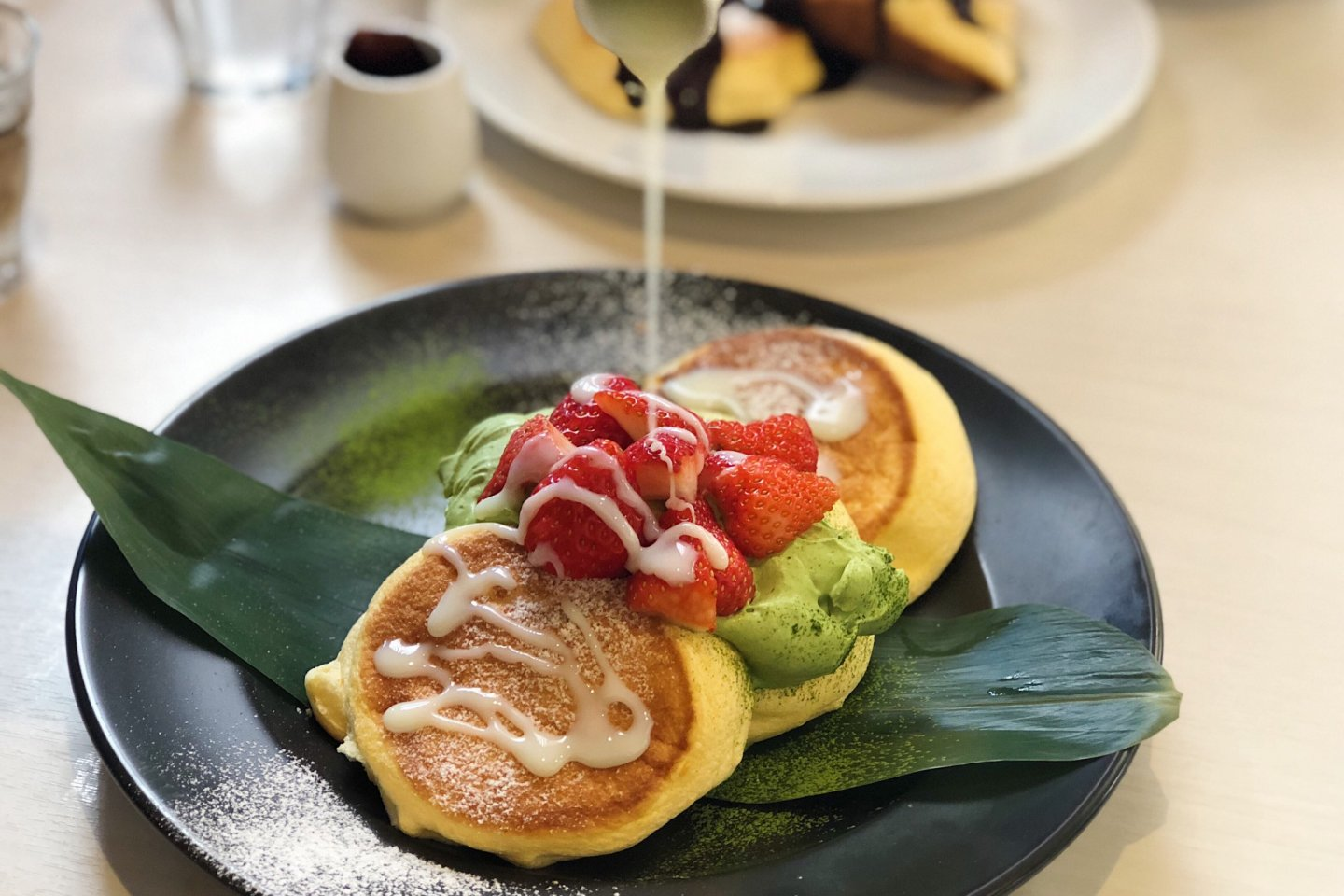 Uji Matcha Whipped Cream Pancakes w/ Condensed Milk and Strawberries
