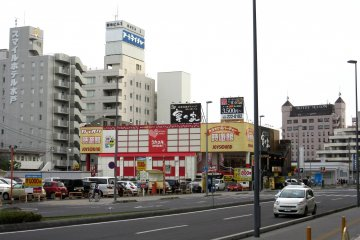 The hotel can be spotted from the exit of JR Mito Station
