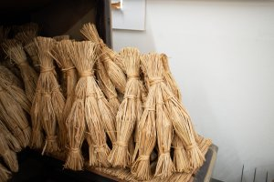 Straw used for wrapping natto