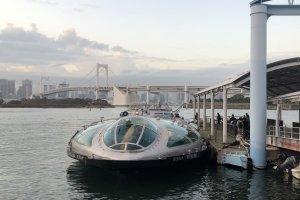The Tokyo Cruise ship docked outside AquaCity in Odaiba.