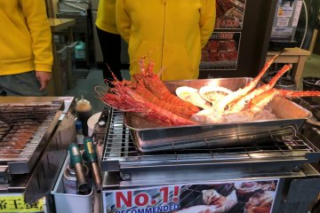 Delicious seafood on the grill at the old Tsukiji Outer Market