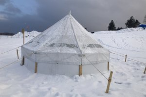 A snowy tent