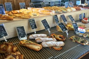 Delicious array of savory breads and pastries.