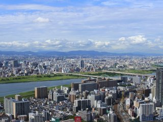 The great view of Osaka City and Yodo River