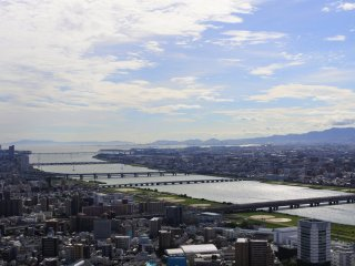 The view of Yodo River and Osaka Bay