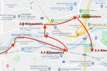 Map: From Kamoi to Egawa Park to Kozukue Castle Ruins