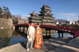 Сакура в парке замка Мацумото
