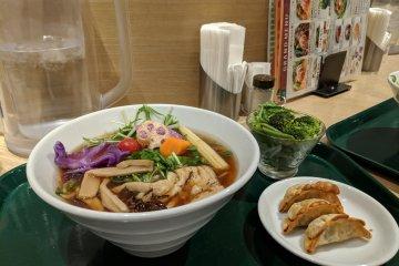Veggie topped ramen, and vegan gyoza at T's Tantan