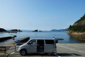 Lonely beach including Mt. Fuji far off. Kumomi, Izu, Shizuoka