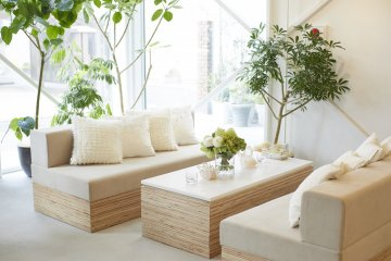 The decor is light, bright, and airy