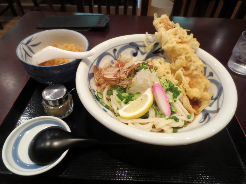 My bukkake udon came with extra crispy bits and tempura chikuwa (tube-shaped fish patty)