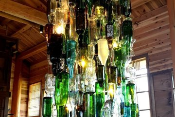 Upcycled glass chandelier