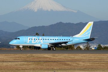 Fuji Dream Airlines in front of Fuji-san