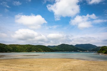 The 500-meter long Hamaguri Beach, one of Japan's best for swimming and relaxing
