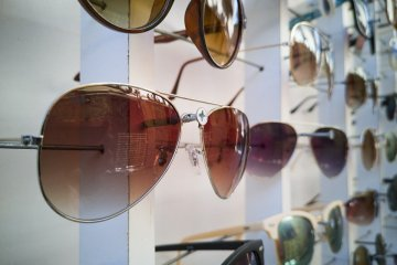 Sunglasses aren't a common sight at convenience stores
