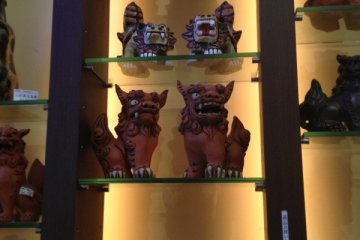 <p>Shisa&nbsp;are traditional beasts which you can see all around Okinawa. Here they are sold in statue form. The beasts are placed inside a building or on rooftops to protect a house, people, or village from&nbsp;calamities and negative energy. How about picking up a miniature set of shisa&nbsp;as a souvenir when you come visit Okinawa?&nbsp;</p>
