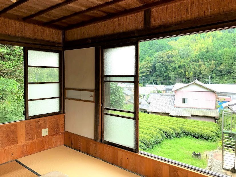 A view of the Green Tea plantation from one of the traditional tatami bedrooms