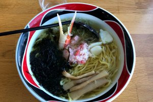 Priced at 900 yen, the Okhotsk ramen is great for seafood fans