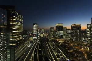 Tokyo Station area lit up at night