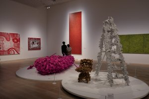 "Works such as Yayoi Kusama's ""Pink Boat"" are on display"