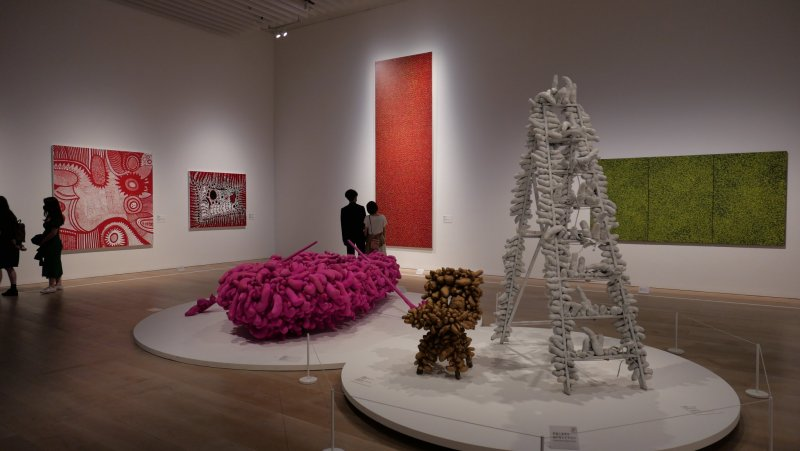 """Works such as Yayoi Kusama's """"Pink Boat"""" are on display"""