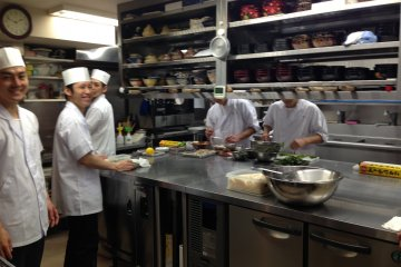 The friendly team in the kitchen