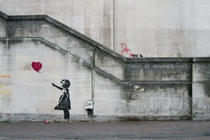 One of Banksy's iconic works