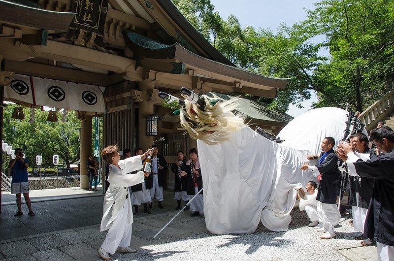 The demon bull arrives at Ware Shrine