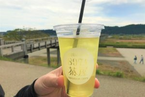 Enjoying a refreshing iced green tea alongside the Horai Bridge!