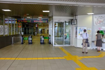Ticket machines at the Shinkansen entry gates. Note if you are carrying a JR East Pass, you must enter the small information office on the right