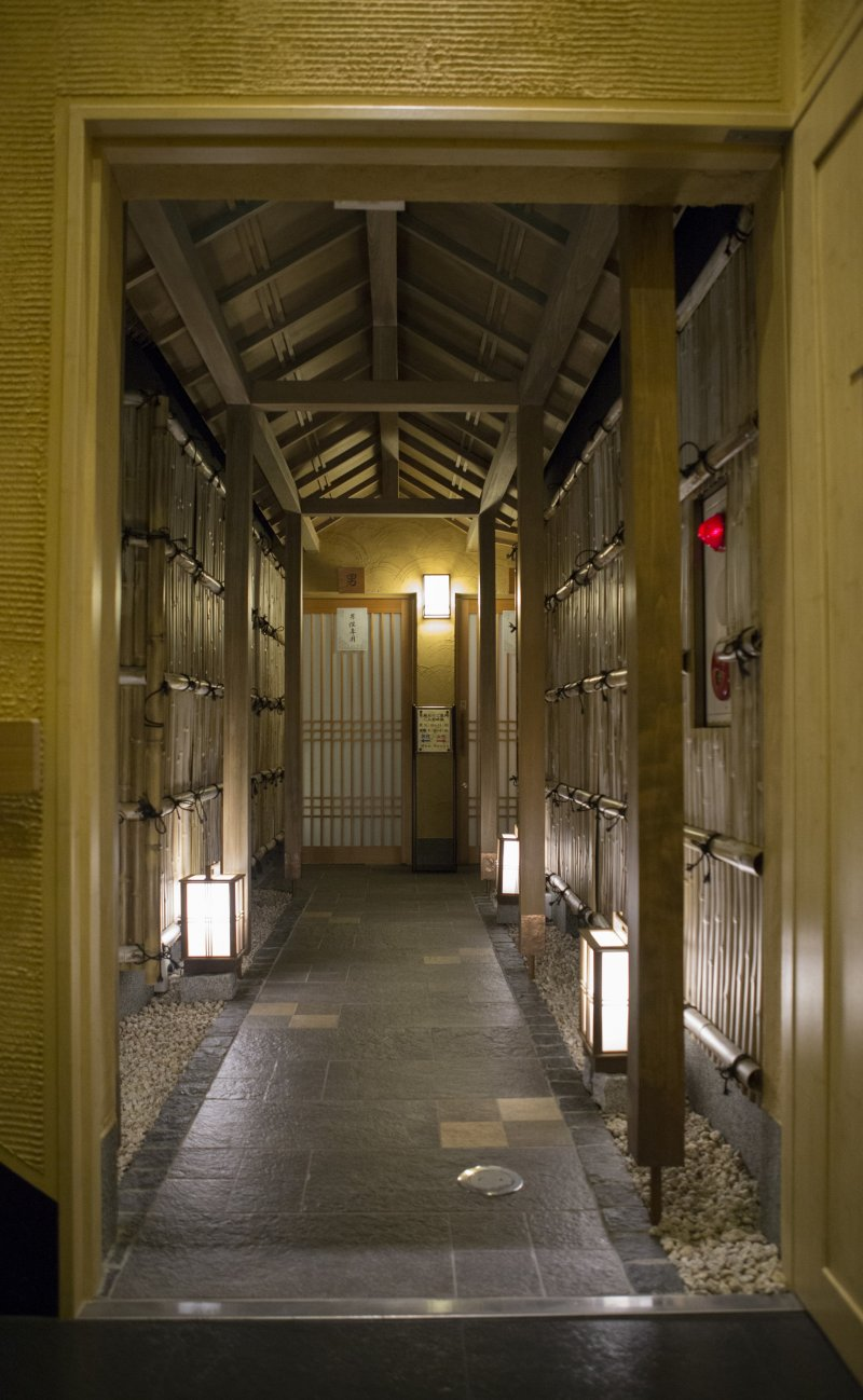 The Onsen style corridor leading to the baths is beautiful.