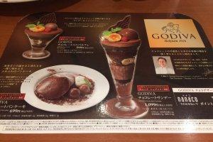 The Godiva dessert menu