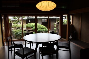 The dining room offers a view of the Japanese garden