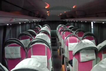 """View of an empty """"Relax"""" bus"""