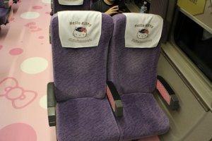 Seats on the Hello Kitty Shinkansen