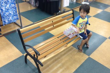 <p>Bored little ones that have been brought along for the trip can pass time by sitting on one of the many benches throughout the store</p>