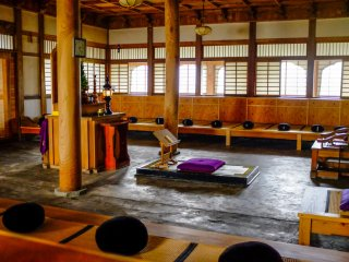 The Zazendo Zen Hall is located behind the main hall and seats 54 people for Zen meditation