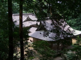 Looking down from the wooded hill behind the shrine