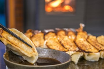 Gyoza by the fire - where else would you want to be?