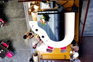 Take your place around the Grand Piano Shaped Counter for a meal at Cafe Cube
