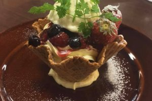 Decadent dessert at Manyo Club's Izakaya
