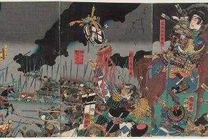 Utagawa Kuniteru II: The Death in Battle of Katsuyori on Mount Tenmoku