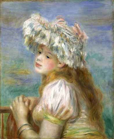 """One of the pieces at the event: Renoir's """"Girl in a Lace Hat"""" (1891)."""