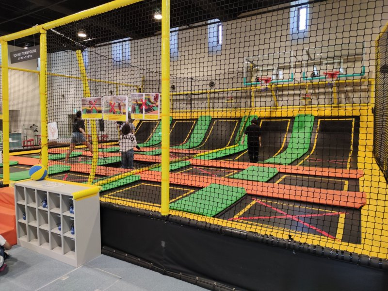 Indoor trampoline park.