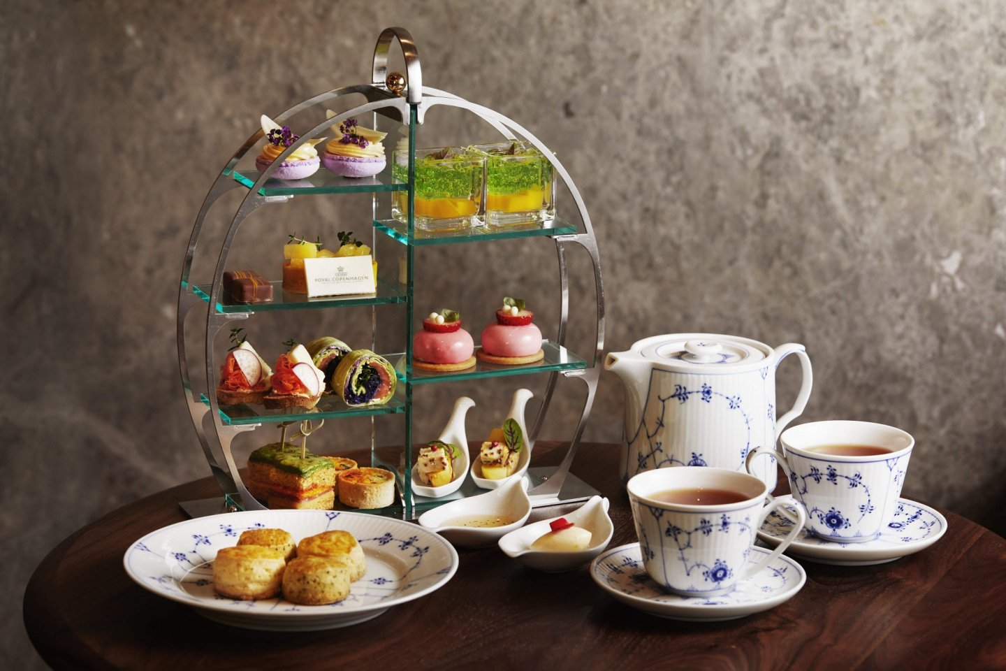 The afternoon tea will be served on Royal Copenhagen ceramicware